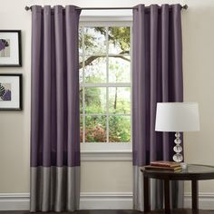 @Overstock.com - Perfect for any room, these Prima window panels feature a classy, simple design. Metal Grommets slides onto curtain rod for installation.   http://www.overstock.com/Home-Garden/Lush-Decor-Prima-Grey-Purple-84-inch-Curtain-Panels-Set-of-2/7356774/product.html?CID=214117 $41.49