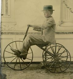 C1860s Early Bicycle Boy on Bonecrusher Tricycle Fabulous Pose Plate | eBay