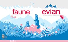 """This Evian illustrated campaign is by tom Haugomat, he is an illustrator and director based in Paris, France. Tom has been featured in publications such as; XXI, Le Monde and more. He is also part of the Parisian workshop called """"Messieurs Dame"""". Free Vector Illustration, Landscape Illustration, Illustration Art, Tom Haugomat, Pop Design, Flat Design, Design Art, Animation Film, Graphic Design Inspiration"""