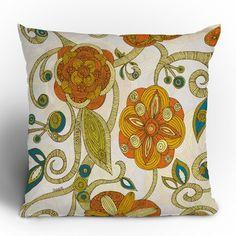 DENY Designs Valentina Ramos Orange Flowers Throw Pillow