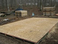 Pallet Shed Building 101 decking the flat bottom crafty 1612 6 sheets of ply T. Pallet Shed Buildi Treated Deck Boards, Palet Exterior, Pallet Shed Plans, Pallet Floors, Pallet Decking, Pallet Building, Pallet House, Wood Shed, Pallet Projects