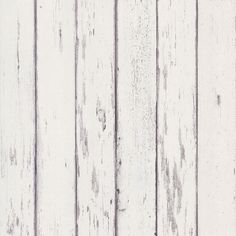 Weathered Wood Boards Wallpaper White  Gray.