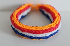 Rainbow Loom Nederlands, WK Nederlandse vlag, armband, Monstertail