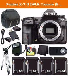 Pentax K-3 II DSLR Camera (Body Only) + 64GB SDXC Card + 32GB SDHC Card + 16GB SDHC Card + 8GB SDHC Card + Case + Tripod + External Flash + Wireless Remote + Mini HDMI Cable Saver Bundle. This Bundle Includes: 1- Pentax K-3 II DSLR Camera (Body Only) (16160) w/ All Manufacturer Accessories 1- 64GB SDXC Class 10 Secure Digital High Speed Memory Card 1- 32GB SDHC Class 10 Secure Digital High Speed Memory Card 1- 16GB SDHC Class 10 Secure Digital High Speed Memory Card 1- 8GB SDHC Class 10...