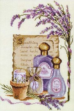 à broder : Soothing Lavender Cross Stitch Kitchen, Cross Stitch Love, Cross Stitch Flowers, Cross Stitch Kits, Cross Stitch Charts, Cross Stitch Designs, Cross Stitch Patterns, Ribbon Embroidery, Cross Stitch Embroidery