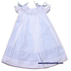 Will'Beth Girls Smocked Angel Wing Sleeves Dress - Blue with White Overlay