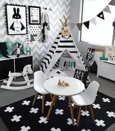 What a cool playroom - black and white, with hints of mint! The chevron wall paper, with the cute teepee, bunting and wall art - 5 stars! #playroom #blackandwhite #blackwhitemint #kidsroom #kidsdecor #littleweststreet (credit - @alicia_and_hudson on instagram)
