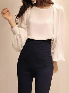 White-Chiffon, Puff Sleeves | Blouse. dresslily.com