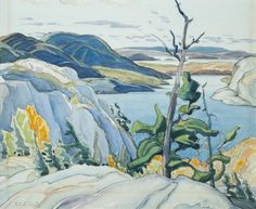 """""""Frood Lake,"""" Franklin Carmichael, 1929, watercolour, 10.5 x 12.75"""", private collection."""