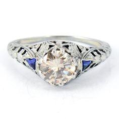 18K Antique 1.08ct Diamond Blue Sapphire Filigree Engagement Ring. $3,965.00, via Etsy.