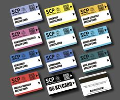 SCP Foundation - Secret Laboratory Version / Secure Access ID Cards (set 11 pcs), in each card radio-chip MiFare
