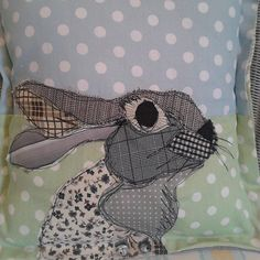 Patchwork appliqued rabbit Cushion. by PaddyMacDesigns on Etsy, £15.00