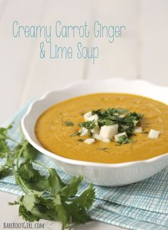 Cool Creamy Carrot, Ginger & Lime Soup.  Dairy free, gluten free and extremely flavorful!