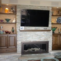 fireplace surround covers entire wall