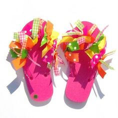 Coolest idea--buy ribbon and flip flops; tie ribbon on each side of flip flop; they turn out so cute!