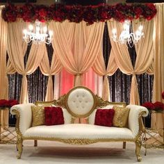 24 Gorgeous Wedding Stage Decoration Ideas & Themes That Will Leave You Speechless! 24 Gorgeous Wedding Stage Decoration Ideas & Themes That Will Leave You Speechless!This Wedding Season Let's Create Magic With Dazzling Wedding Reception Backdrop, Wedding Stage Decorations, Backdrop Decorations, Red Wedding Receptions, Wedding Draping, Wedding Mandap, Indian Wedding Centerpieces, Engagement Stage Decoration, Red Centerpieces