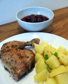 Pečené kuře s třešňovým kompotem Steak, Steaks