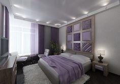 purple white gray (taupe?) bedroom