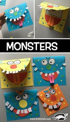 MONSTERS Kids Crafts, Halloween Crafts For Kids, Toddler Crafts, Projects For Kids, Easy Halloween, Halloween Party, Halloween Recipe, Women Halloween, Halloween Projects