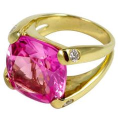 Faceted Cushion Cut Pink Topaz Dome Ring with Diamonds .......... $3,400