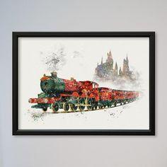 Harry Potter Hogwarts Express Poster Train Art Print Watercolor Nursery Art Wall Decor Art Picture Wall Hanging kids art