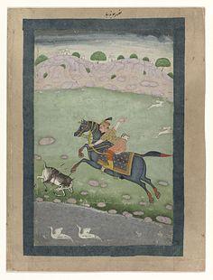 Anonymous | Ruiter te paard, Anonymous, 1750 | Een ruiter te paard heeft een jonge reebok die aan de waterplas aan het drinken was dodelijk getroffen met twee pijlen en ze zakt voor het paard door haar poten, bloedend uit de pijlwonden in haar flank; op de achtergrond gaan twee hazen er vandoor naar rechts; in de waterplas zwemmen twee witte ganzen(?); achter de heuvelrug zijn de torens van een paleis zichtbaar. De voorstelling is op een stuk grauw karton geplakt en omraamd door donkergroene…
