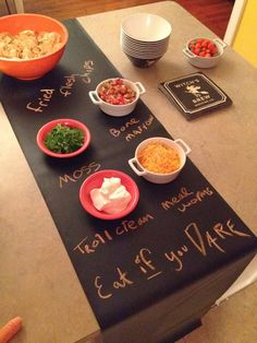 Modern June chalk cloth runners are great for Halloween parties!!