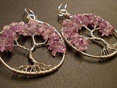 Amethyst Tree of Life Earrings by OddsAndEndsByKaley on Etsy