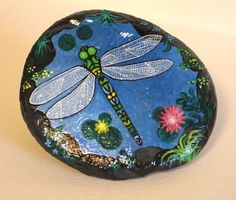 Dragon Fly Rock! hand painted, flowers 360' Signed (07/09/2011)