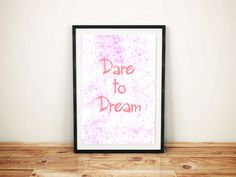 Dare to dream Poster / Printable Poster / Motivational Poster / Typography Print / Printable Art / Printable wall decor /Office Decor