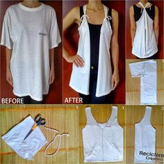Que bonito es reciclar!Aus einem alten T ShirtIdeas ropa paso a pasoPinned by Qkwaisarah Bray HarveyTrendy vest from old T-Shirt Diy Clothes Refashion, Shirt Refashion, T Shirt Diy, Clothes Crafts, Sewing Clothes, Umgestaltete Shirts, Diy Vetement, Techniques Couture, Recycled T Shirts