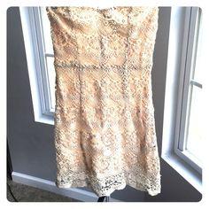 Cream strapless dress Cream strapless dress with crochet detail. Super cute dress, worn twice great condition. Ark & Co Dresses Mini