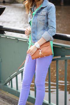 Lavender pants, green top, denim jacket