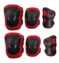 Eforstore Adult Women/men Unisex Knee Elbow Wrist Protective Pads Set for Skateboard Cycling Roller Skating and Other Outdoor Sports Safety Protective Gear Pads Set (Black+red) - High hardness PVC shell, thickened soft sponge, safety ,comfortable and durable 3 colors Available ,You can choice your like Velcro strap design, slip-resistant ,convenient and adjustable size  Package contect:1pair Knee pads + 1pair elbow pads + 1pair Wrist pad  - http://ehowsuperstore.com/bestbrand