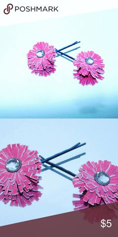Handmade Girls pink leather hairpins Cute  girls  pink hairpins.Color is slightly different due to flash.Set of 2 Handmade by leatherblums Accessories Hair Accessories