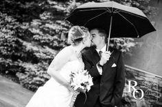 Rainy Day Wedding, Bride and Groom with Umbrella, Wedding Umbrella, Black and White Wedding Portrait, Outdoor Wedding, Colorado Wedding, Randall Olsson Photography