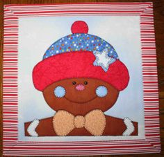 Gingerbread boy - Applique quilted wall hanging