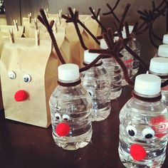 Reindeer water bottles and popcorn bags... Super cute and healthy! Classroom party