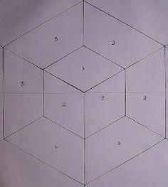 PATCHWORK ARTE EM TECIDOS: CUBO TRIDIMENSIONAL Patchwork Patterns, Quilt Block Patterns, Applique Patterns, Pattern Blocks, Crochet Patterns, Optical Illusion Quilts, Cubes, Star Quilt Blocks, Hexagon Quilt
