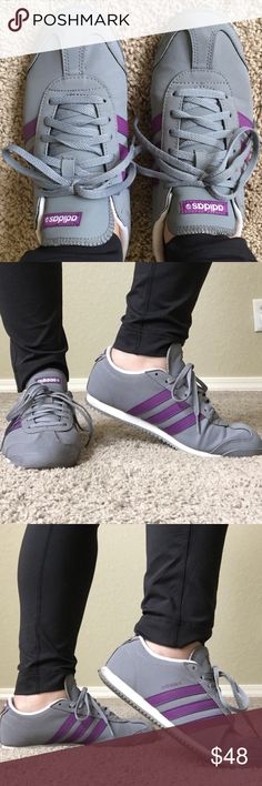 Adidas Neo Sneakers Unique gorgeous stylish gray and purple color combo. Signs of wear but nothing major- only worn for a couple of months. Comfortable. Wow them!! Ask any questions thanks!👟 Adidas Shoes Sneakers