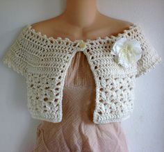 Ivory Cream Off the Shoulder Crochet Bridal Shrug