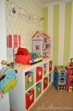 Suburbs Mama: Play Room/Guest Room Update--its ALL ikea! Nursery Decor Boy, Playroom Decor, Playroom Ideas, Nursery Room, Kids Decor, Home Decor, Toy Rooms, Kids Rooms, Stencil Decor