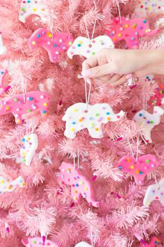 DIY Circus Animal Cookie Ornaments - Studio DIY - - Use model magic and pom poms to make these DIY circus animal cookie ornaments for gifts or for your own Christmas tree! How easy is that! Candy Land Christmas, Candy Christmas Decorations, Retro Christmas, Diy Christmas Ornaments, Christmas Themes, Handmade Christmas, Holiday Crafts, Holiday Fun, Christmas Holidays
