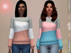 Lovely colourful cosy sweater for your sims -cas thumbnail -12 pastel colour versions