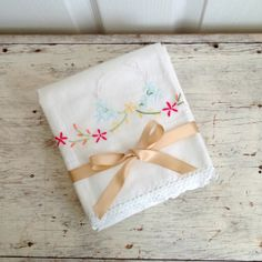 pair vintage hand embroidered pillow cases by ImSoVintage on Etsy, $22.00