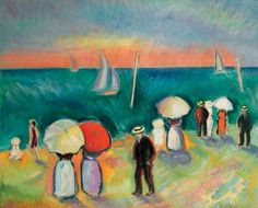 The Beach At Sainte-adresse Artwork By Raoul Dufy Oil Painting & Art Prints On Canvas For Sale Raoul Dufy, Matisse, Van Gogh, Monet Paintings, French Artists, Beach Art, Oeuvre D'art, Canvas Art Prints, Klimt