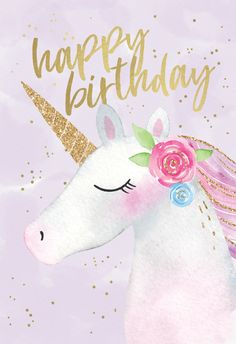 Happy Unicorn - Birthday card you can print or send as eCard. Personalize with your own message, photos and stickers. Choose from hundreds of designs!  #greetingcards #printable #diy #birthday