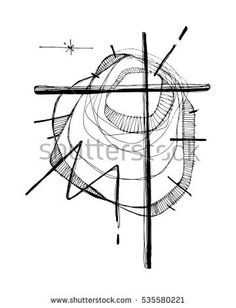 Hand drawn vector illustration or drawing of a Christian Cross and an abstract background