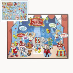 Circus Sticker Scene (2shts) :   Includes one 21.6 cm x 27.9 cm paper background sheet and one sticker sheet.  Stickers are repositionable and acid free. (44 stickers per sheet)