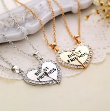 Lote de Dos Collares Corazón de la amistad BEST FRIENDS color plateado o dorado